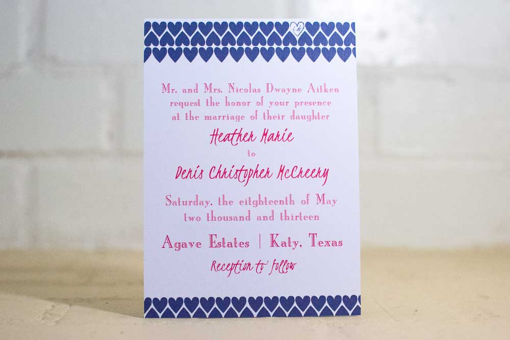 """I Do"" Hearts Wedding Invitation Suite - Lindsay Ann Artistry"