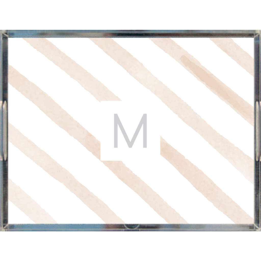 Watercolor Diagonal Stripes Monogrammed Acrylic Tray