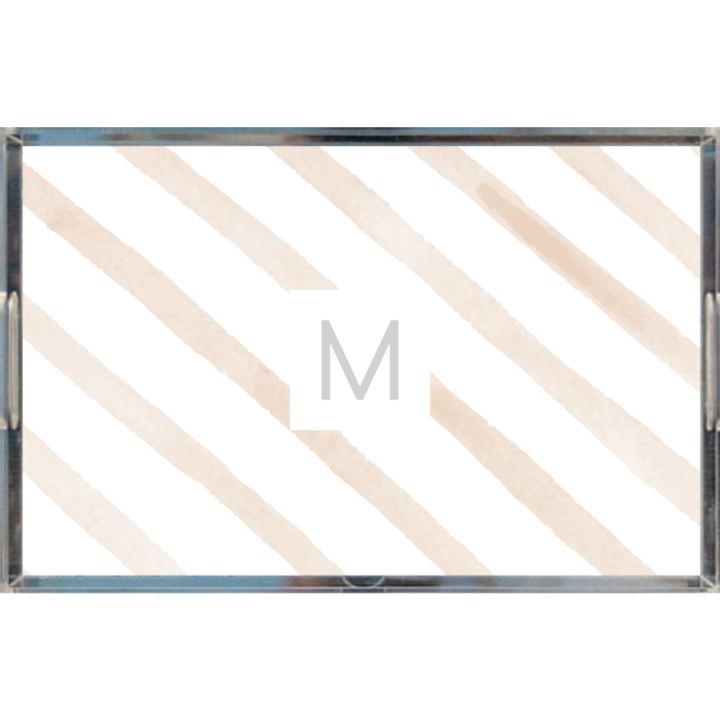Watercolor Diagonal Stripes Monogrammed Acrylic Tray - Lindsay Ann Artistry
