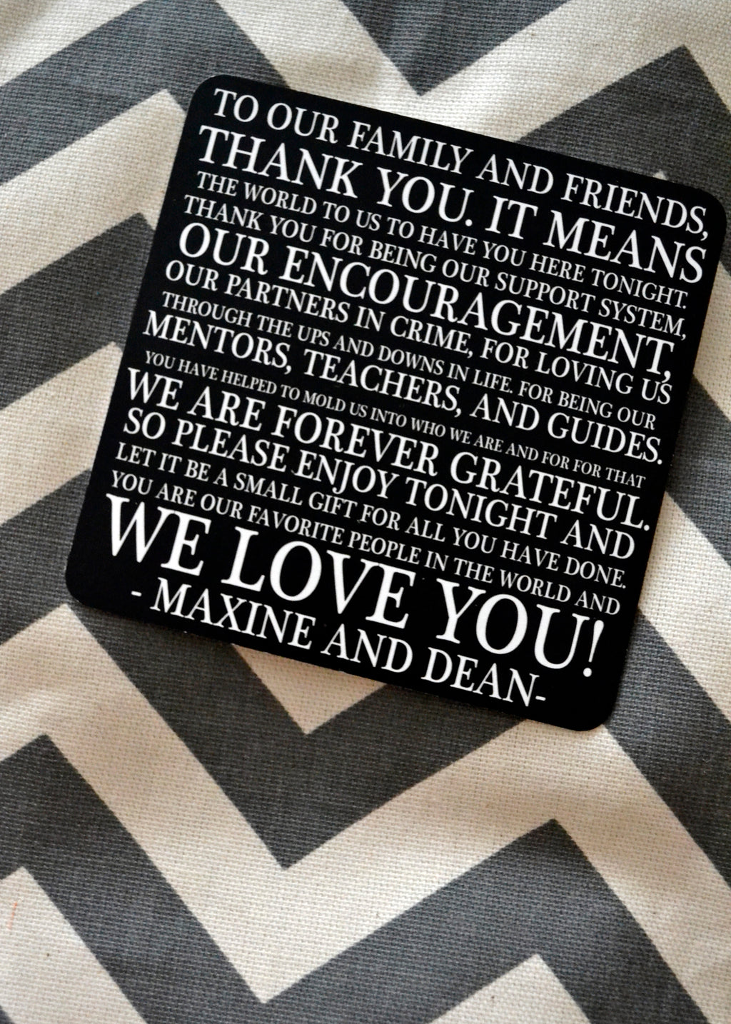 Typographic Thank You Wedding Paper Coasters