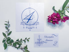 Modern Chandelier Table Number Cards with Place Cards (optional) - Lindsay Ann Artistry