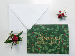 Whimsical Holly Berries Seasons Greetings Holiday Greeting Card - Lindsay Ann Artistry