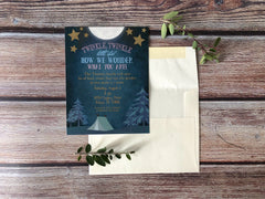 Twinkle Twinkle Little Star Camping Themed Gender Reveal Party Invitations - Lindsay Ann Artistry