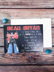 Chalkboard Transformers Birthday Party Invitations - Lindsay Ann Artistry