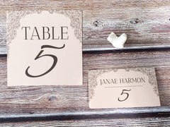 The Rosie Suite | Cascading Roses Table Numbers & Place Cards | Floral Wedding Reception Accessories - Lindsay Ann Artistry