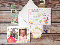 Tambourines & Drums Birthday Party Invitations - Lindsay Ann Artistry