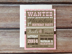 Wanted! Western Themed Girl's Birthday Party Invitations - Lindsay Ann Artistry