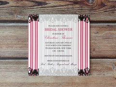 Pink Pinstripes & Black Lace Party Invitations - Lindsay Ann Artistry