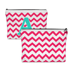 Monogrammed Zig Zag Carry All Pouch, Pencil Bag, Chevron Makeup Bag - Lindsay Ann Artistry