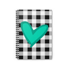 Buffalo Check with Turquoise Heart Soft Bound Spiral Notebook - Ruled Line - Lindsay Ann Artistry