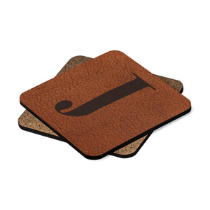 Leather Photo Background Monogrammed Hardboard Coaster Set (Set of 4)