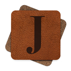 Leather Photo Background Monogrammed Hardboard Coaster Set (Set of 4) - Lindsay Ann Artistry