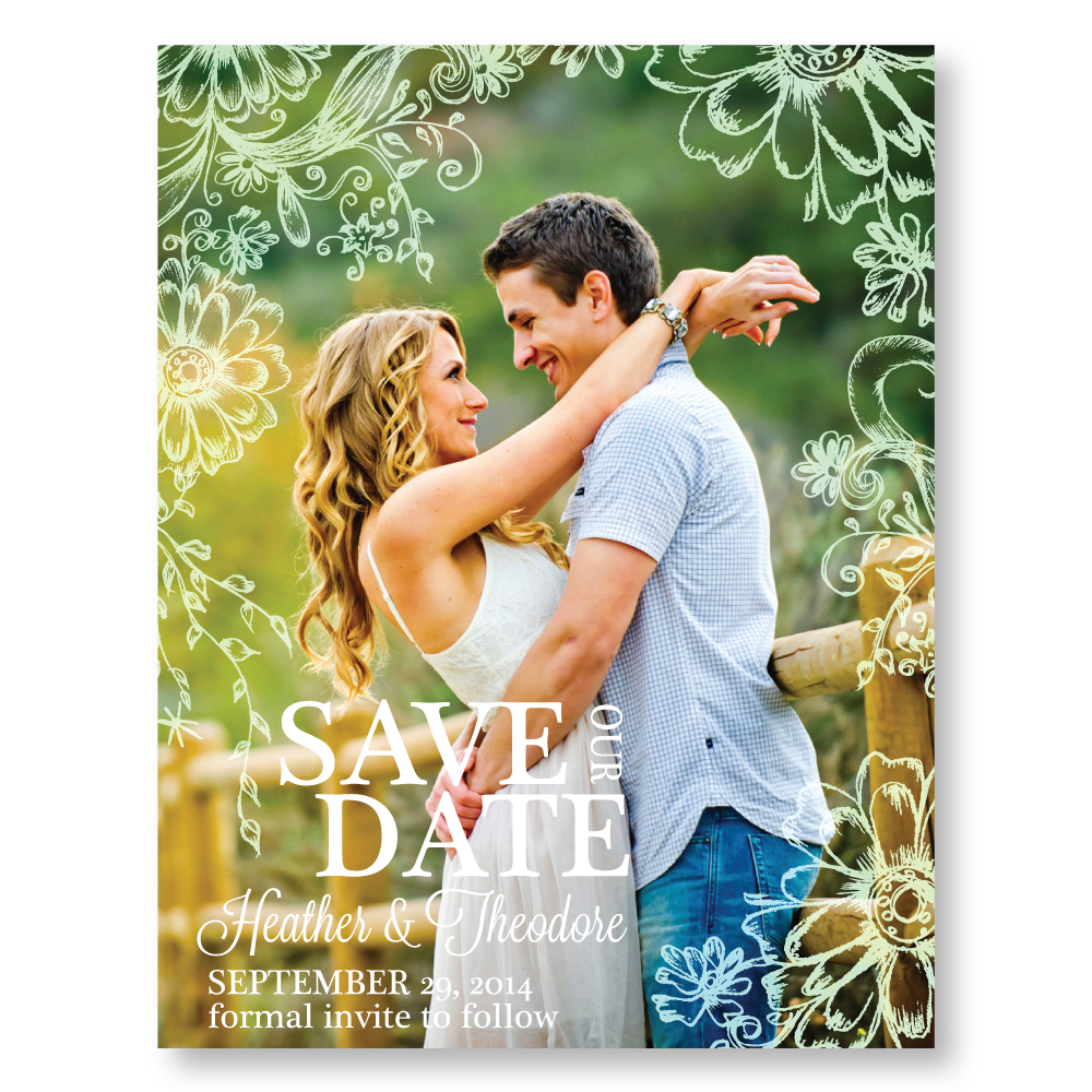 Antique Daisies Save the Date Cards - Lindsay Ann Artistry