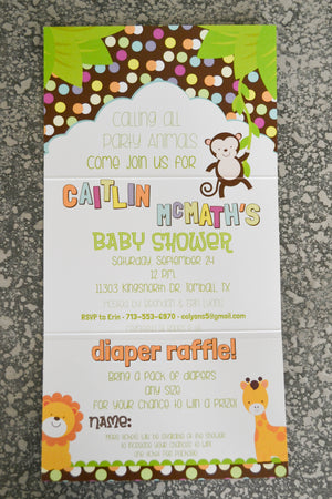 Calling All Party Animals Baby Shower Invitation