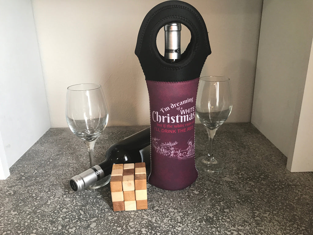 White Christmas Insulated Wine Tote