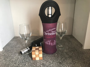 White Christmas Insulated Wine Tote - Lindsay Ann Artistry
