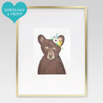 Boho Baby Bear Watercolor Print - 8 x 10 Downloadable