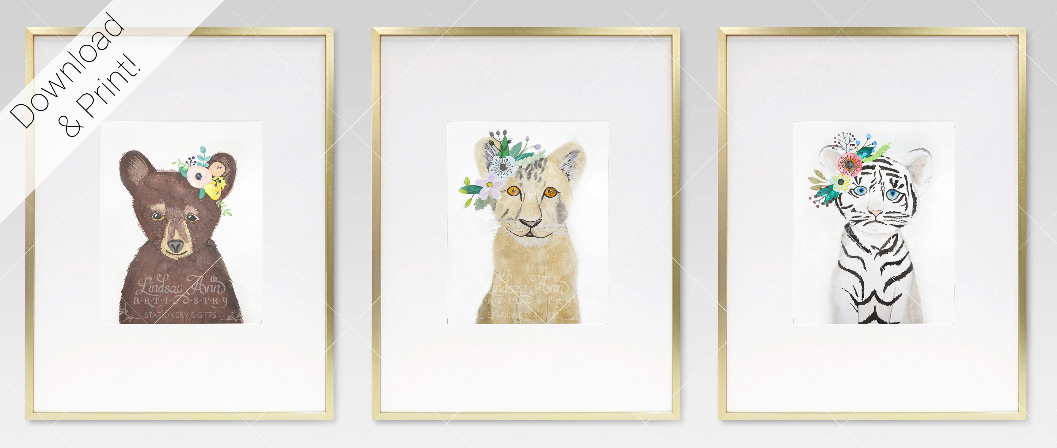 Boho Baby Lion, Tiger, and Bear Cubs Watercolor Print Set - Lindsay Ann Artistry