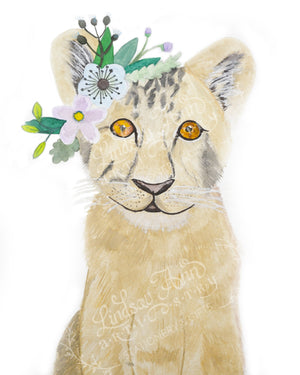 Boho Baby Lion Cub Watercolor Print - 8 x 10 Downloadable - Lindsay Ann Artistry