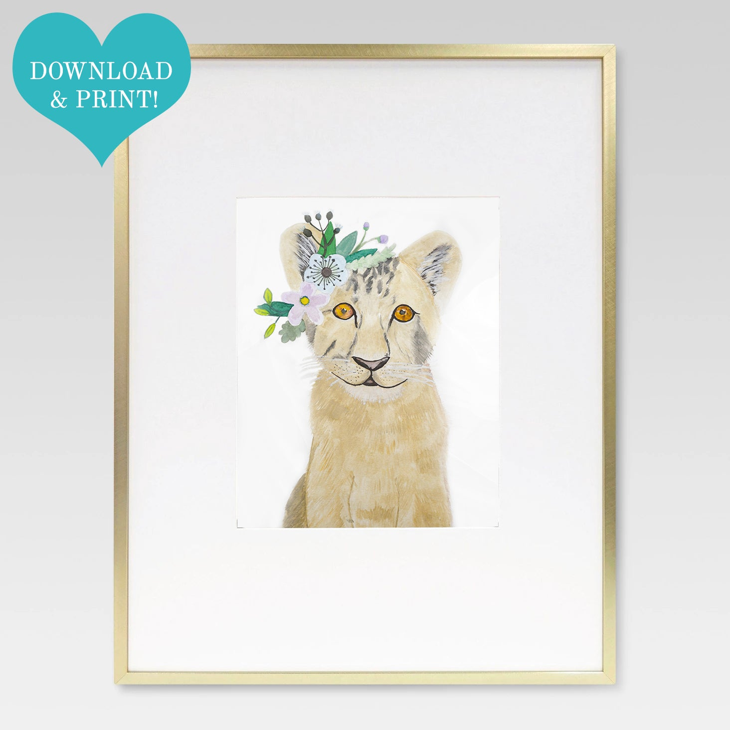 Boho Baby Lion Cub Watercolor Print - 8 x 10 Downloadable