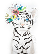 Boho Baby Tiger Cub Watercolor Print - 8 x 10 Downloadable