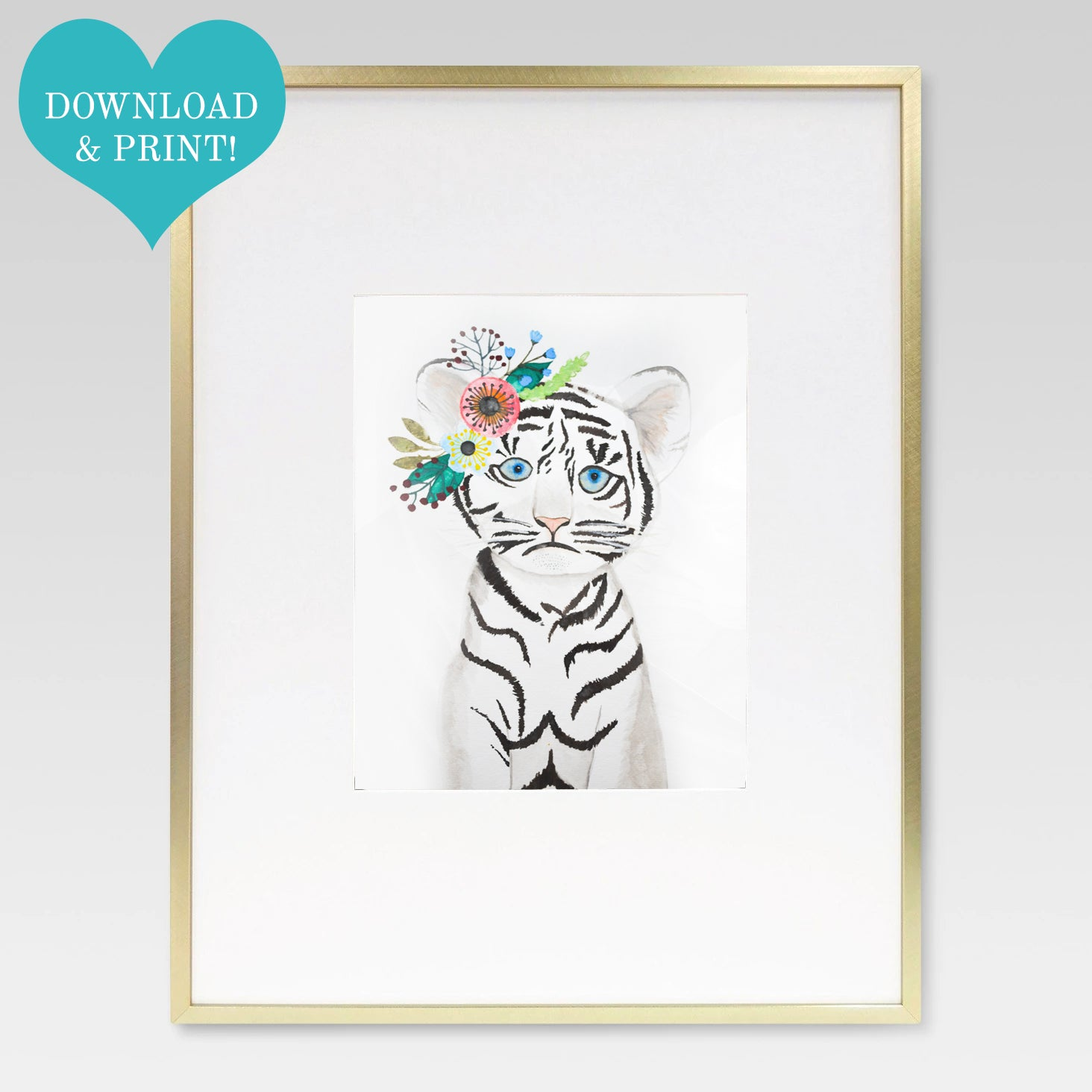 Boho Baby Tiger Cub Watercolor Print - 8 x 10 Downloadable - Lindsay Ann Artistry