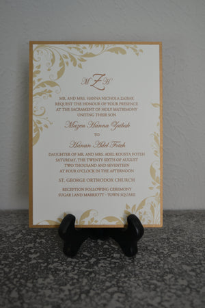 A7 Invitation Backer, Invitation Mat, Back Layer - Antique Gold
