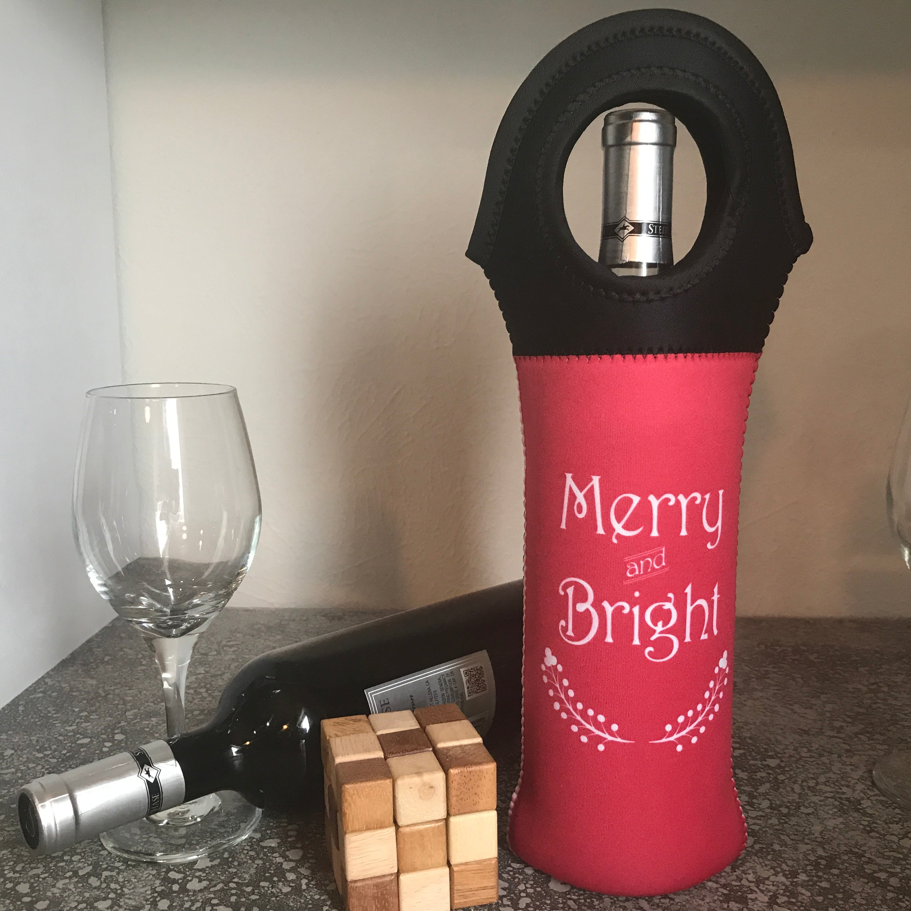 Merry & Bright Insulated Wine Tote