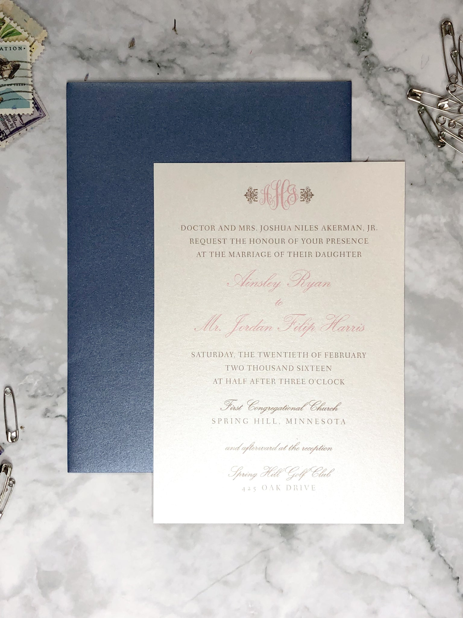 Ainsley Wedding Invitations |  Simple Monogrammed Damask Invites - Lindsay Ann Artistry