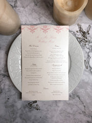 The Ainsley Suite | Damask Menu Card | Formal Wedding Reception Menu Cards