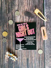 Girls Night Out Bachelorette Party Invitations - Lindsay Ann Artistry