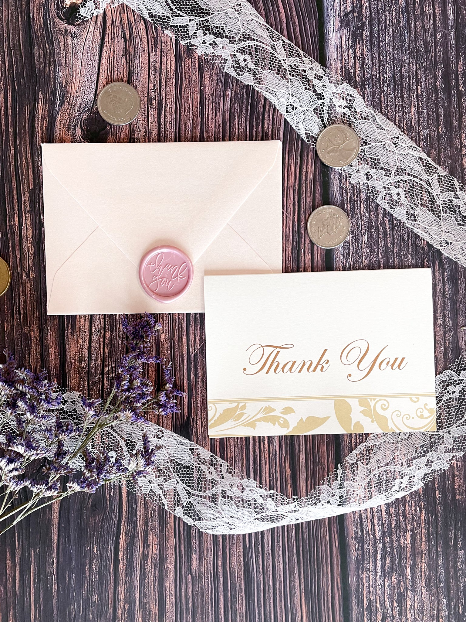 Hannah Thank You Cards, Gold Floral Swirls Border Thank You Cards for Wedding, Formal Event Thank You Cards - Lindsay Ann Artistry