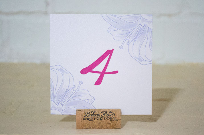 Lily Table Number Cards with Optional Matching Place Cards