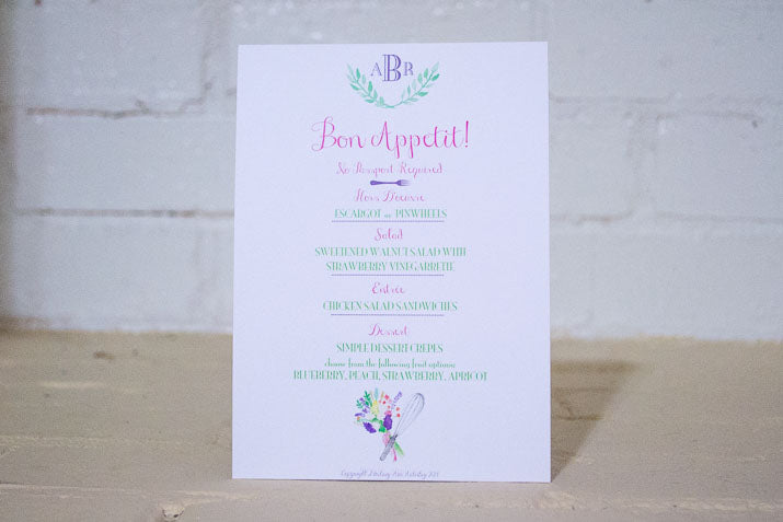Watercolor Whisk Menu Card