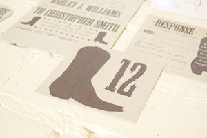 Rodeo Boot Place Cards & Table Numbers - Package of 25
