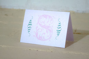 Fleurette Monogrammed Greeting Card/Thank You Card