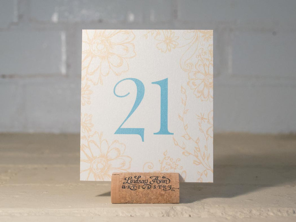 Antique Daisies Table Number Cards with Optional Place Cards - Lindsay Ann Artistry