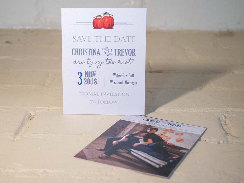 Pumpkin Carnival Save the Date Cards with Matching Envelopes - Lindsay Ann Artistry
