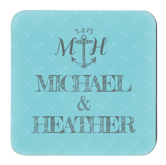 Personalized Couple's Nautical Hardboard Coaster - Lindsay Ann Artistry