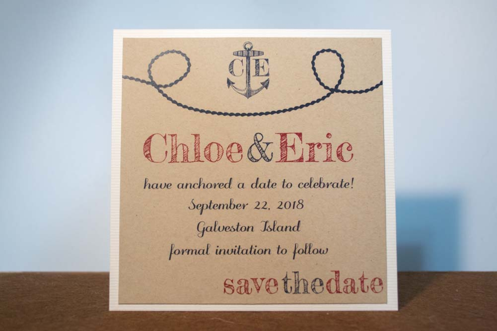 Anchors Aweigh Save the Date Cards
