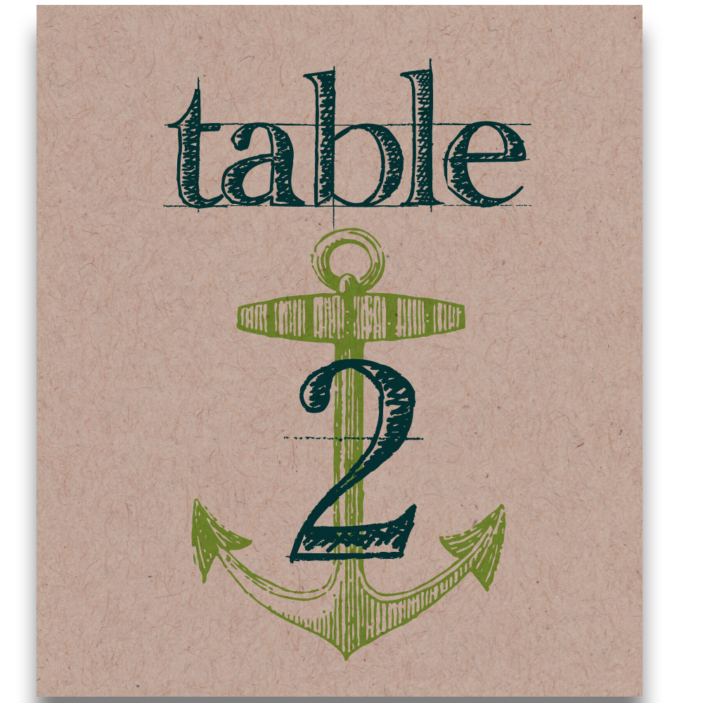 Anchors Aweigh Table Cards - Lindsay Ann Artistry - Beach Reception Table Numbers & Place Cards