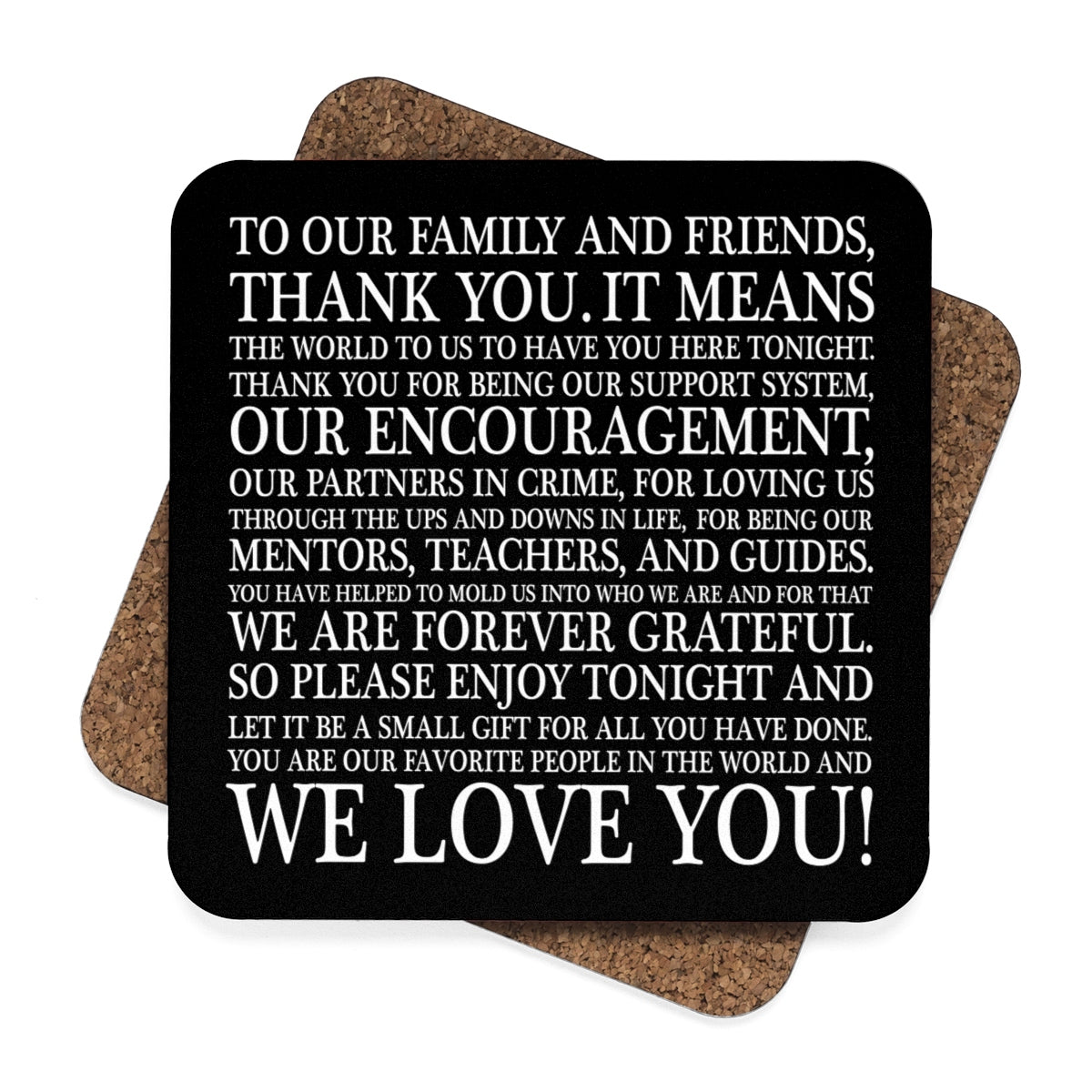 Typographic Thank You Wedding Hardboard Coasters