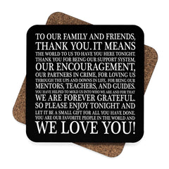 Typographic Thank You Wedding Hardboard Coasters - Lindsay Ann Artistry