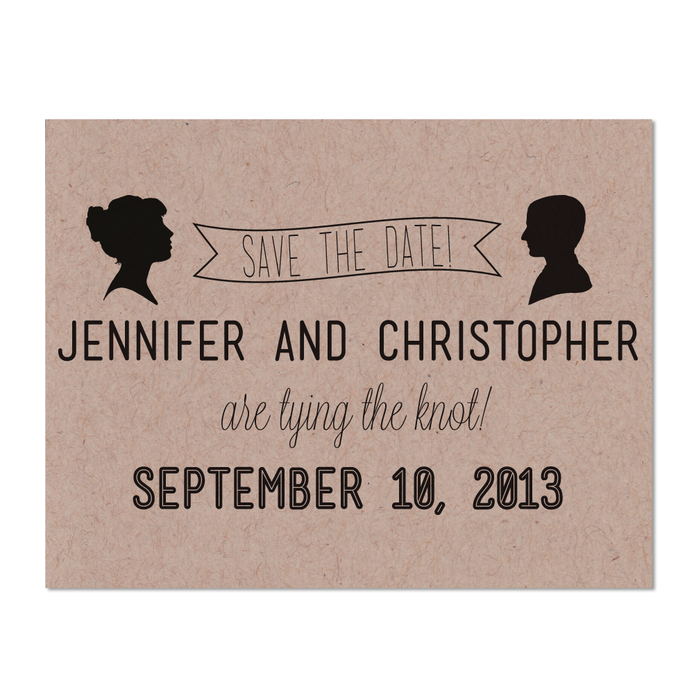 Simple Silhouette Photo Save the Date Cards