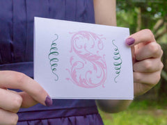 Fleurette Monogrammed Greeting Card/Thank You Card - Lindsay Ann Artistry