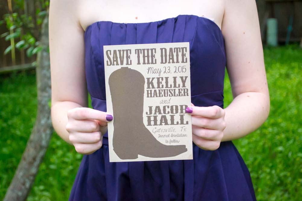 Rodeo Boot Save the Date Cards