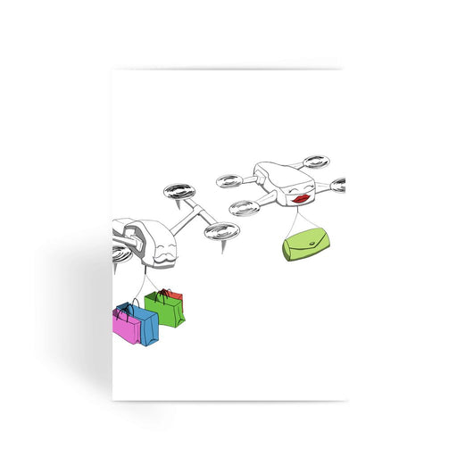 Shopping Couple Greeting Card - Drones Collection