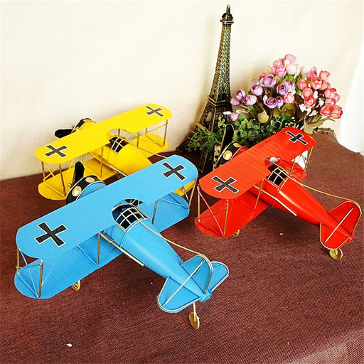 Vintage Two Wings Aircraft Model in Iron - Drones Collection