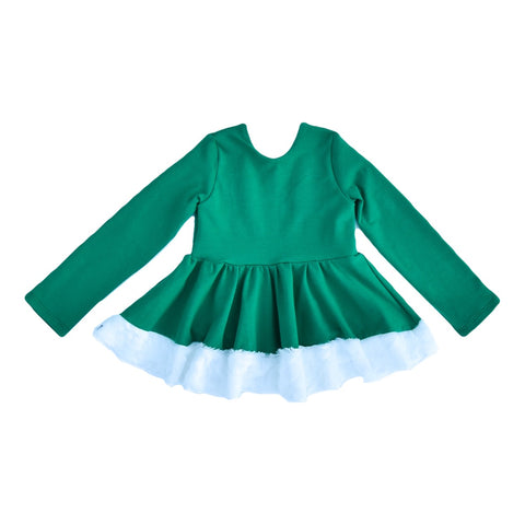 Baby Doll Top - Green with Fur Trim