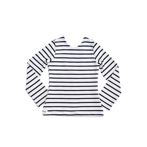 Fitted Top - Ivory and Black Stripes